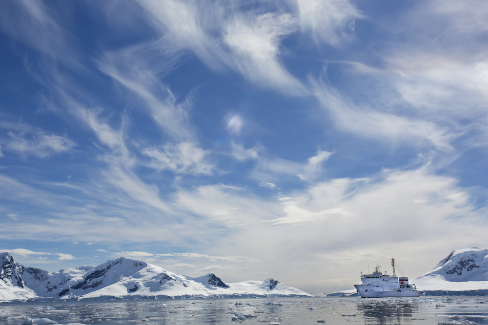 This is an expedition cruise ship in Antarctica, operated by One Ocean Expeditions.