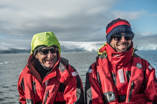 One Ocean Expeditions' passengers enjoy a zodiac tour in Antarctica.