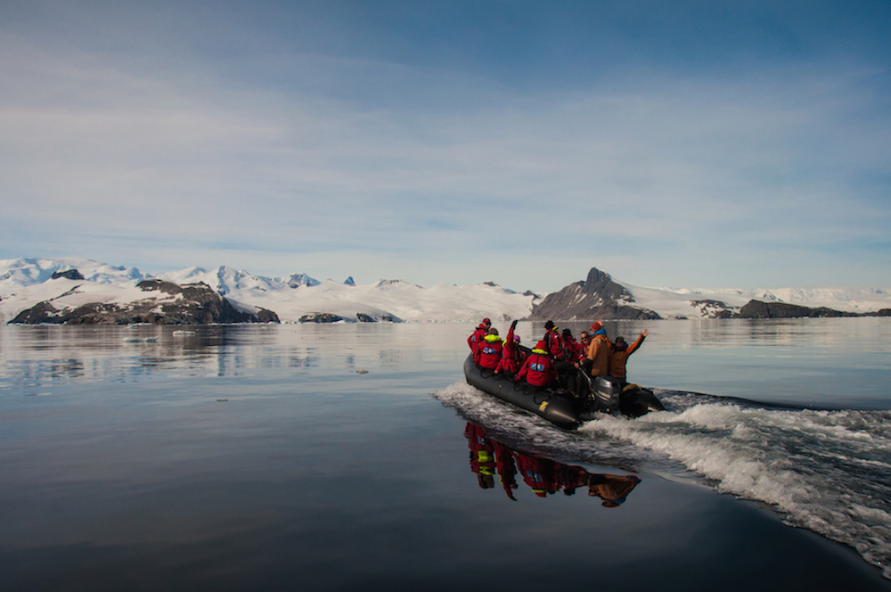 One Ocean Expeditions offers zodiac excursions in Antarctica as part of their expedition program.
