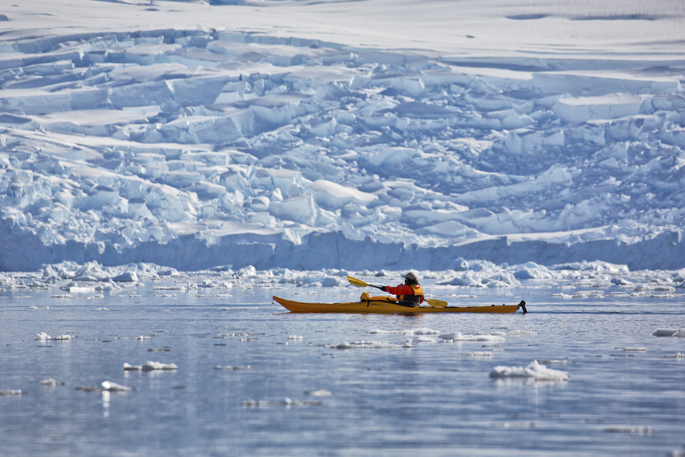 One Ocean Expeditions offers sea kayaking programs in Antarctica.