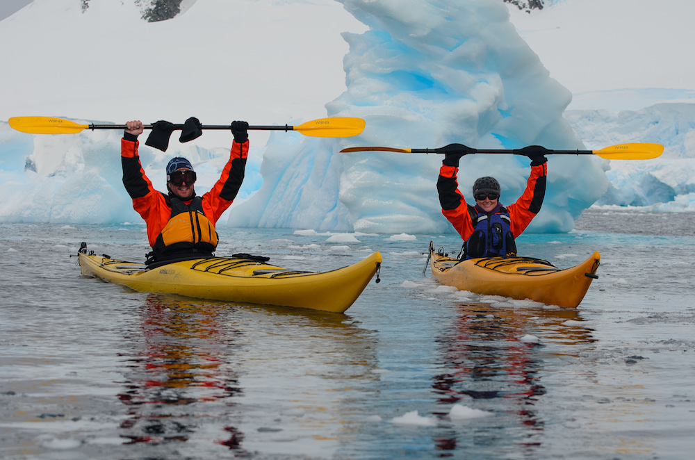 Sea kayaking is a popular activity on an expedition cruise to Antarctica.