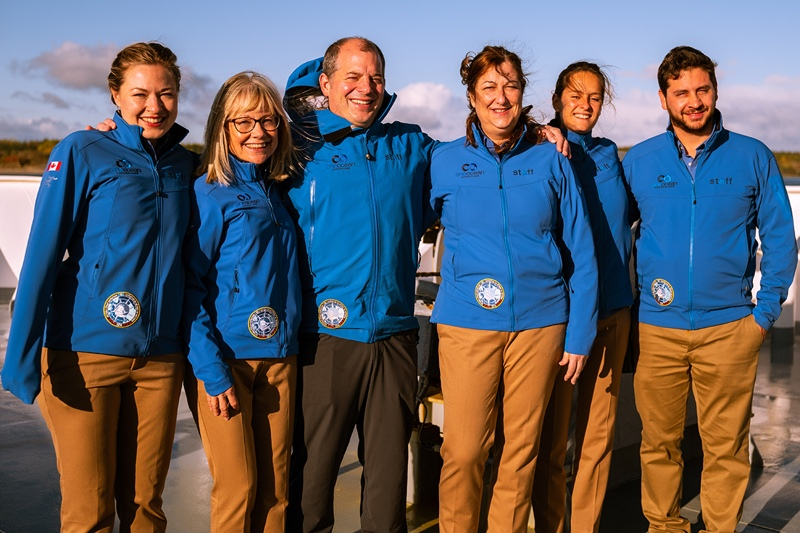 European staff members aboard a One Ocean Expeditions vessel.